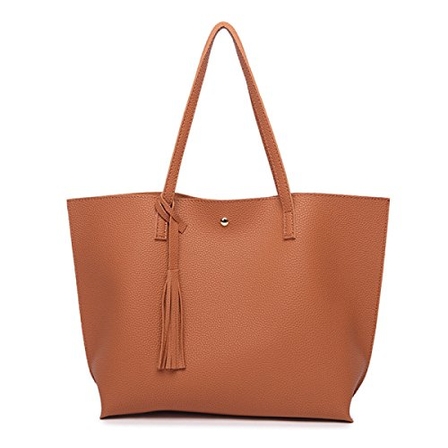 Koreanische Version Solid Color Quasten Schulter Portable Damen Tasche,LightGray Khaki