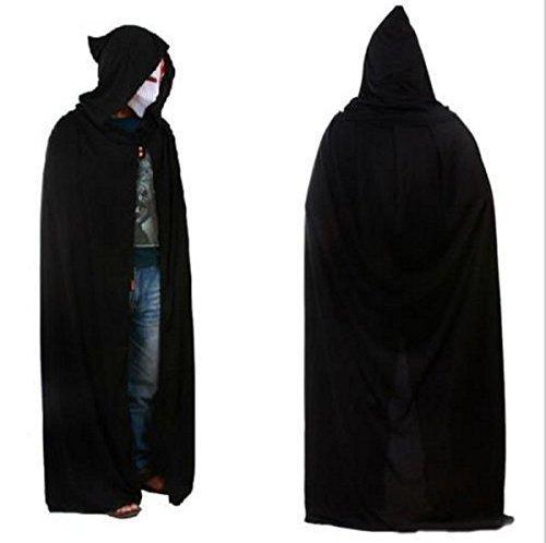 UChic 1 STÜCKE Schwarz Halloween Kostüm Theater Prop Tod Kapuze Umhang Teufel Lange Tippet Cape mit mütze lange umhänge 170-175 cm