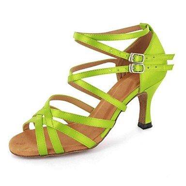 Scarpe da ballo-Personalizzabile-Da donna-Balli latino-americani-Tacco su misura-Finta pelle-Nero / Verde / Rosso / Grigio / Altro Red