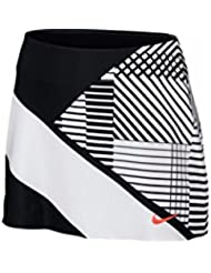 Nike W Nkct Pwr Spin Skirt Pr Falda de Tenis, Mujer, Negro (Black / White / Hyper Orange), M