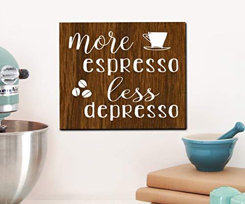CPWood More Espresso Holzschild Weniger Depreso, rustikales Dekor, Holzschild, Esszimmer, Kaffee, Bar, Küche Dekor - Espresso-esszimmer