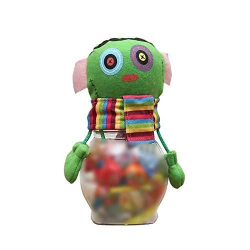 lujiaoshout Halloween Candy Jar Transparent Sugar Bottle Plastic Cookies Storage Box Jar Creative Zombie Shape Candy Jar (Green)