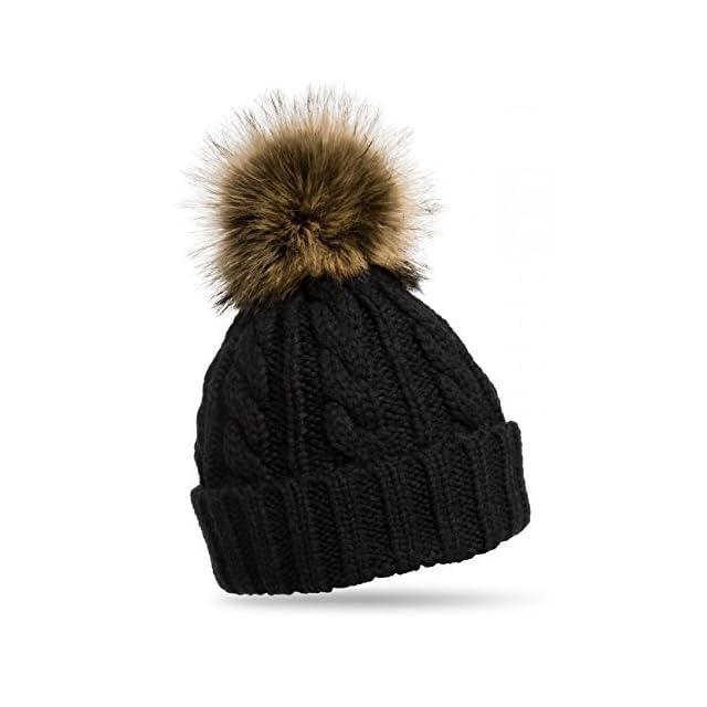 d90e44fc83e6b CASPAR MU104 Bonnet fourré hiver pour femme - bonnet tricoté avec torsades  et gros pompon en ...