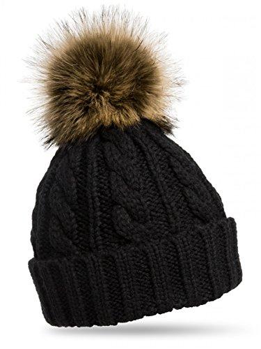 CASPAR MU104 Damen Mütze / Strickmütze mit Fellbommel, Farbe:schwarz;Größe:One Size