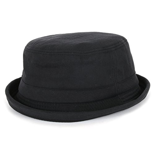 ililily Washed Cotton Pork pie Hat Black Trim Vintage Bucket Hat(fedora-531-6) (Fedora Trim)