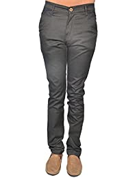 Leo Mens Dark Gray Slim Fit Stretchable Trouser (T3)