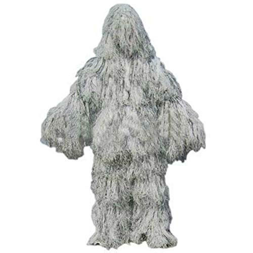 QINAIDI Ghillie-Anzüge aus reinen Weiß für die Jagd, die Recon-Tarnkleidung tragen (Ghillie Anzug Kostüm)