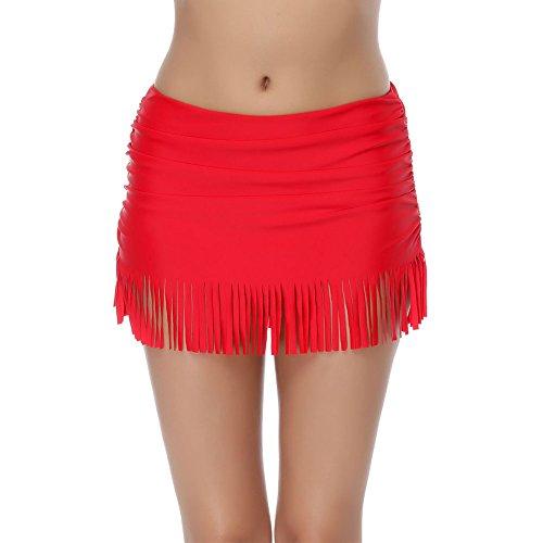 FeelinGirl Damen Tanga Bikinihose String Rüschen Brazilian Bikini Slip Schnüren Höschen L Rot -