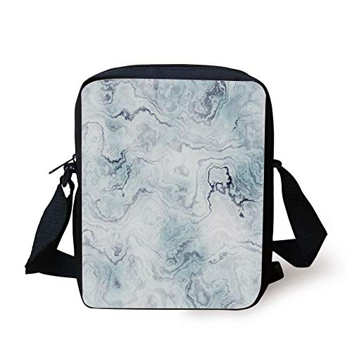 Marble,Soft Pastel Toned Abstract Hazy Wavy Pattern with Ottoman Influences Image Decorative,Light Blue Grey Mint Print Kids Crossbody Messenger Bag Purse -