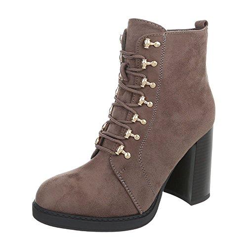 Ital-Design High Heel Stiefeletten Damen-Schuhe Schlupfstiefel Pump Schnürer Reißverschluss Stiefeletten Hellbraun, Gr 40, 0-195-
