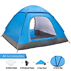 Idea Regalo - Yuanj Tenda da Campeggio per 3-4 Persone, Tenda Pieghevole a Due Porte con Borsa per Il Trasporto Facile da Montare, Tende per Zaino in Spalla per Viaggi di Coppia, Campeggio