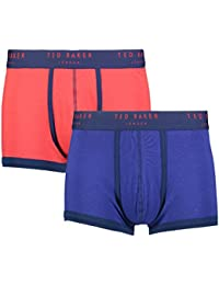 "Ted Baker London Blue & Red Plain Mens Cotton Wanted Fitted Boxer Trunks 2 Pairs (Large (Size 4-36""-38"" Waist))"