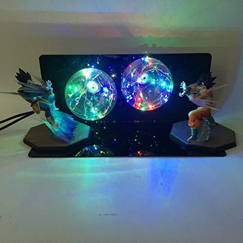 Festival Ausrüstung, Hauptdekoration,Kreative Tischlampe Dragon Balls Sun Wukong Hand führte Schreibtischlampe Wukong Vegeta Welle, Blitz mit 7 Farben -