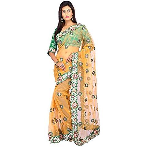indiano Tradizionale Sari da sposa Bollywood Style arancia Net morbido Donne Saree con scucito Camicetta