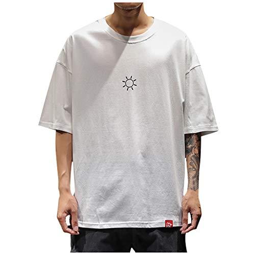 Luckycat Herren Hip Hop T Shirt Pullover Rundhals-Ausschnitt Schwarzer Männer Kurze Ärmel dünner Pulli Sweatshirt Langarmshirt Crew Neck Jungen Hoodie T-Shirt Kurze Ärme Oversize Sport T-Shirt Herre -