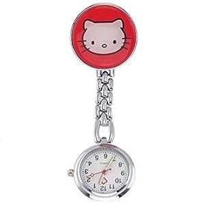 Century Ansteckuhren Klippuhren Bunte Auswahl an Sister Uhren Pulsuhren Schwesternuhren für Pflegekräfte n (Kätzchen rot)