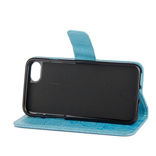 Cover per iPhone 5S/iPhone SE, EUWLY Portafoglio Custodia in Pelle Protettiva Cover Case Per iPhone 5S/iPhone SE Premium Retro Morbido PU Leather Wallet Cover Supporto Stand Fuction Chiusura Magnetica Blu