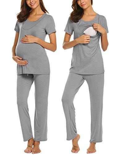 UNibelle Damen Stillpyjama-Umstandspyjama-Schlafanzug Zweiteilig Hausanzug Pyjamas Kurzarm Ärmel Loungewear