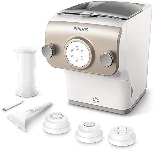 Philips HR2380/05 Avance Collection Pasta maker - Macchina per preparare pasta con Bilancia Integrata, 4 Trafile, 200 W, Plastica, Bianco/Champaign