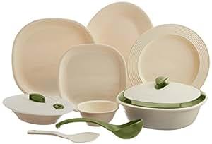 Signoraware Square Dinner Set, 36-Pieces, Off White/Heena