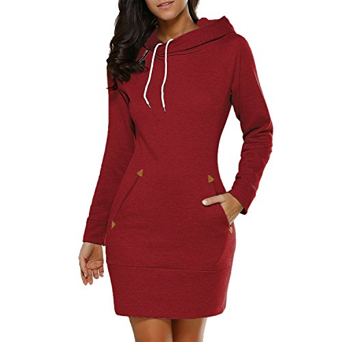 Eleery Robe Mini Pullover Femme Manches Longues Sweater à Capuche Zip Automne Hiver Sexy Poche Lâche Rouge