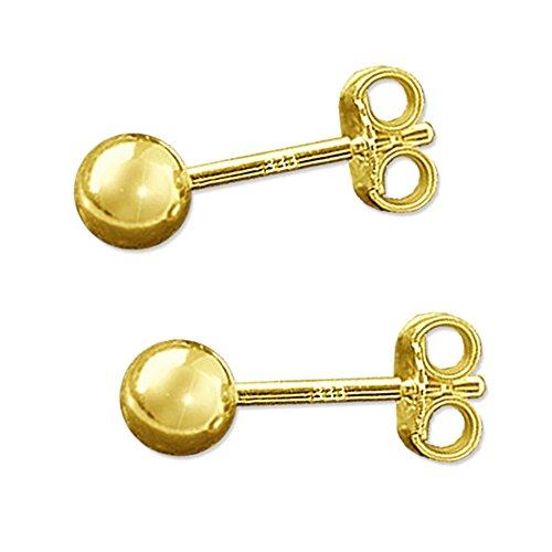Clever Schmuck Goldene Paar kleine Damen Ohrstecker mit Kugel Ø 4 mm glänzend 333 GOLD 8 KARAT -