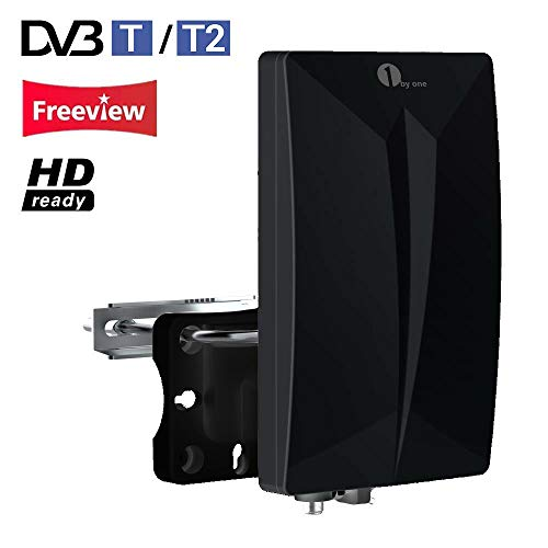1byone DVB-T/DVB-T2 Antenne Zimmerantenne/Außenantenne für HDTV/DVB-T/DVB-T2 Fernsehen/Receiver, VHF/UHF/FM, Anti-UV-Beschichtung,Wasserdichtes und Bündiges Design-schwarz