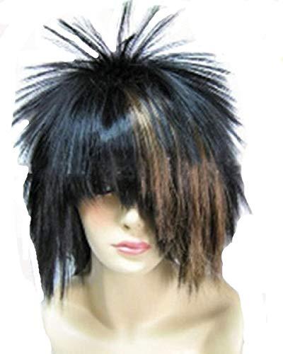 Qubeat parrucche donne bambini con riflessi nero/marrone sfilacciato capelli cotonati carnevale carnevale