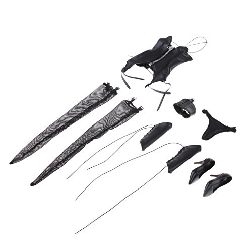 MagiDeal 1/6 Schwarze Kunstleder Dessous Bustier Strümpfe High Heels Schuhe Kleidung Satz Für 12'' Action Figur (Körper-handschuh-krawatte)
