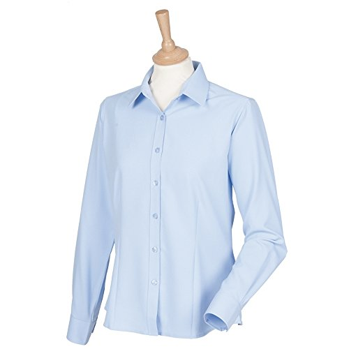 Henbury Womens wicking anti-bacterial long sleeve shirt Light Blue