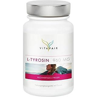 L-Tyrosin - 960mg pro Tagesdosis - 120 Kapseln - Hochdosiert mit 80% - Vegetarisch - Ohne Magnesiumstearat - Made in Germany