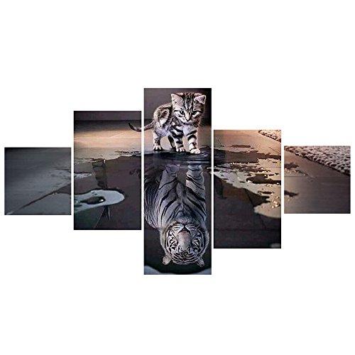 Unten Gefüllt Einfügen (Wuayi Handgemachte Dekoration Kreuzstich Katze und Tiger DIY 5D Diamant Stickerei Malerei Wohnkultur Handwerk (B))