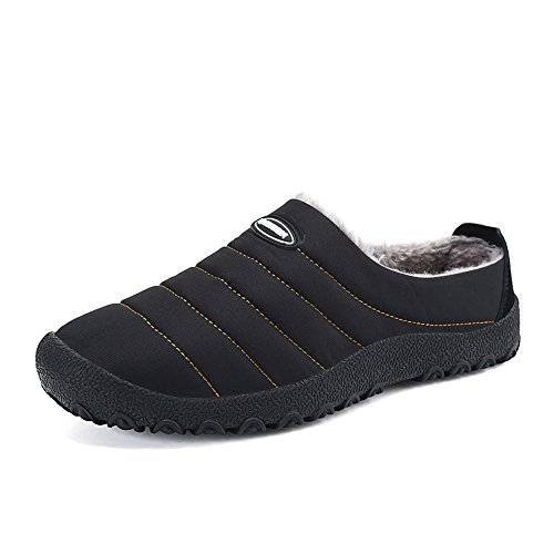 JACKSHIBO Unisex Uomo Antiscivolo Impermeabile Scarpe da Casa Primavera Autunno Inverno Comodissime Pantofole Caldo Pantofole Nero