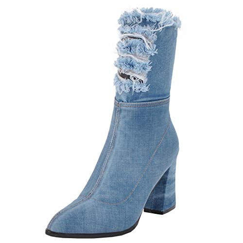 YE Damen Blockabsatz Kurzschaft Stiefel Jeans Damen Denim
