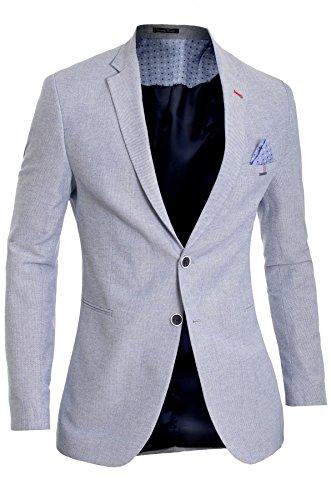 Blazer classico da uomo giacca blu casuale attività commerciale finitura rossa slim fit morbido cotone
