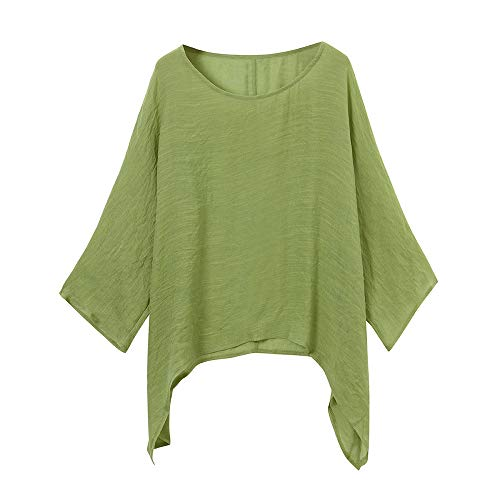 POPLY Spring Office Women Ladies Cotton Linen Solid Long Sleeve Shirt Casual Loose Blouse Button Down Tops,Plus Size Green