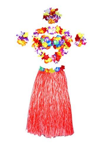 Frauen 6 Pieces Floral Elastischen Bund Kostüm Gras - Rock Hula Red One Size