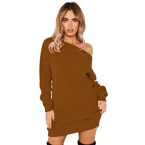 Damen Frühling Herbst Pulli Kleid Schulterfreies Langarm Pullover Minikleid Elegant Locker Gestrickt Kleid Sweater Kleider als Abendkleid Partykleid