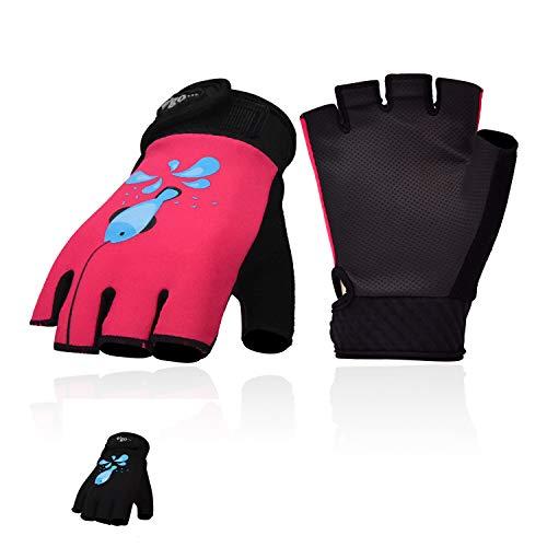 Vgo 2 Paare Alter 5-6 Kinder Atmungsaktiv Angeln, Kajakfahren, Paddeln, Kanufahren, Rudern und Outdoor-Handschuhe (Größe M, Schwarz + Rot, PU0055-KID)