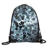 cleaer Unisex Gym Drawstring Shoulder Bag 3D Cubes Trippy Acid Black Friend Backpack String Bags