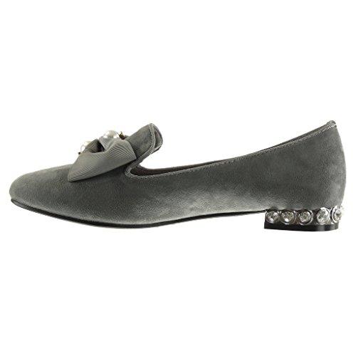 Angkorly Fashion Chaussures Mocassins Slip-on Femme Nœud Papillon Clouté Perle Bloc Talon 1.5 Cm Gris