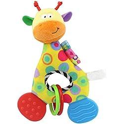 Newin Star Peluche Muñeca con mordedor,campanas de cascabel mordedor muñeca para recién nacidos niñas y niños sin BPA muñeca felpa de bebé(jirafa)