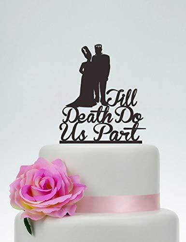 Tortenaufsatz für Hochzeitstorte, Till Death Do Us Part, personalisierbar, Frankenstein Tortenaufsatz, Braut und Bräutigam, Halloween-Hochzeit