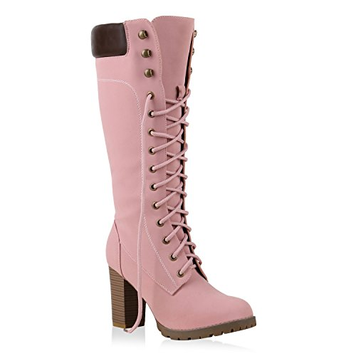 Damen Stiefel Blockabsatz Boots Schnürstiefel Leder-Optik Schuhe 126941 Rosa Autol 38 Flandell