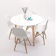 Conjunto de Cocina / Comedor NORDIK-D100 con mesa redonda lacada blanco. D-100 cm. … (Blanco)