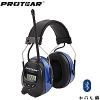 Protear Electronic Earmuff Defender con Bluetooth y Radio AM / FM Headphone Digital Display, Reducción Nosie para Disparos, Llamada manos libres y Radio NRR 25dB