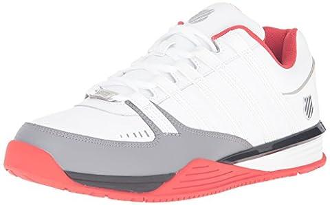 K-Swiss Men Baxter Low-Top Sneakers, White (White/Fiery Red/Black 132), 8