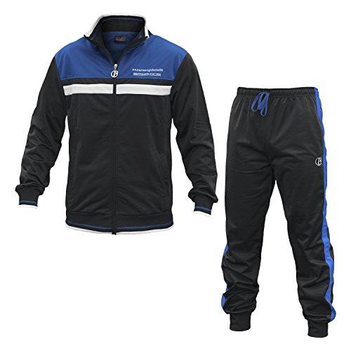 Tuta Uomo NAZARENO GABRIELLI Sporting Poliestere 2 Colori Full Zip Art.SU215 ( Black / Royal Blue - 48 / M)