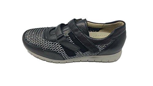 Zapato/Mujer/Drucker/Color: Acero/Ancho Especial/Rejilla/Apto Plantillas/Cierre fácil/Material: Piel/Suela Goma/Talla 39