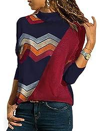 47e5de8dc90f YOINS Sexy Schulterfrei Oberteil Damen Shirt Off Shoulder Top Pullover Damen  Rollkragen Langarm Gestreift Pulli Lose